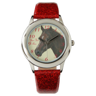 Chestnut mare horse portrait equine art painting wristwatch
