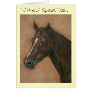 Chestnut mare horse portrait equine dad art card
