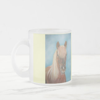 chestnut mare horse with blonde mane equine art frosted glass coffee mug