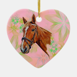 Chestnut mare horse with white blaze, painting. ceramic ornament
