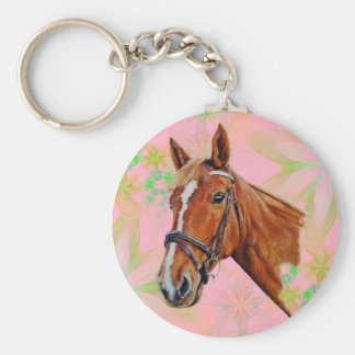 Chestnut mare with a white blaze, painting. keychain