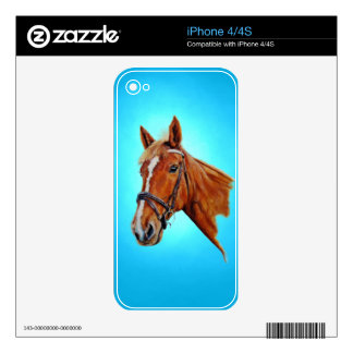 Chestnut mare with a white blaze, painting. skin for iPhone 4