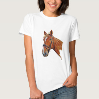 Chestnut mare with a white blaze, painting. t-shirt