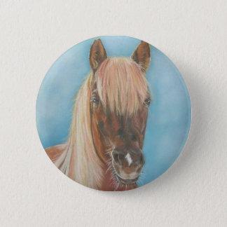 chestnut mare with blonde mane equine art horse pinback button