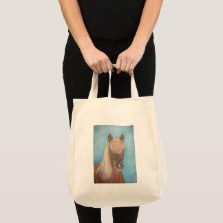 chestnut mare with blonde mane equine art horse tote bag