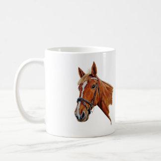 Chestnut mare with white blaze. Art. Coffee Mug