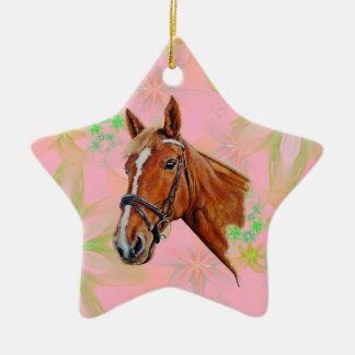 Chestnut mare with white blaze painting. ceramic ornament