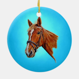 Chestnut mare with white blaze. Painting. Ceramic Ornament