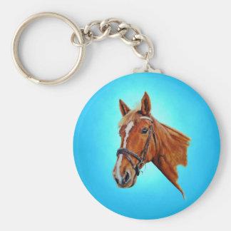 Chestnut mare with white blaze painting. keychain