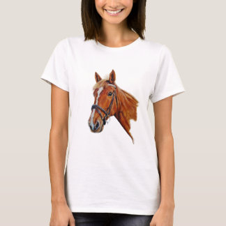 Chestnut mare with white blaze. Painting. T-Shirt