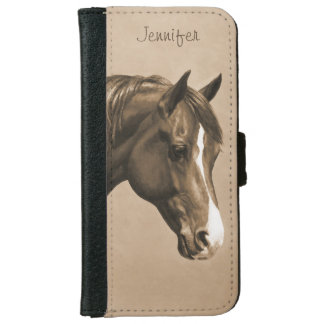 Chestnut Morgan Horse in Sepia iPhone 6 Wallet Case
