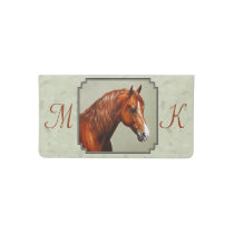 Chestnut Morgan Horse Sage Green Checkbook Cover