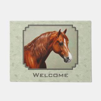 Chestnut Morgan Horse Sage Green Doormat