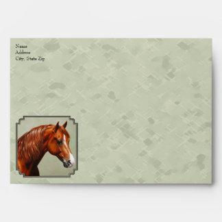 Chestnut Morgan Horse Sage Green Envelopes