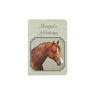 Chestnut Morgan Horse Sage Green Passport Holder