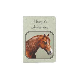 Chestnut Morgan Horse Sage Green Passport Holder