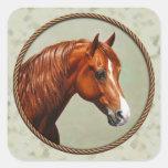 Chestnut Morgan Horse Sage Green Square Sticker