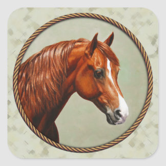 Chestnut Morgan Horse Sage Green Square Sticker
