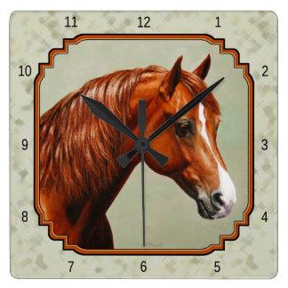 Chestnut Morgan Horse Sage Green Square Wall Clock