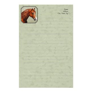 Chestnut Morgan Horse Sage Green Stationery