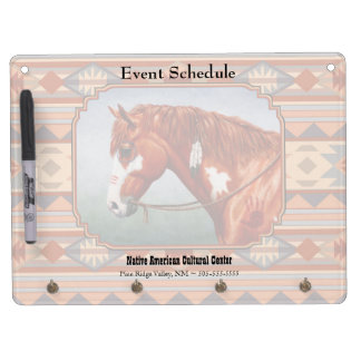Chestnut Pinto Horse Southwest Indian Design Dry Erase Boards