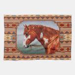 Chestnut Pinto Horse Southwest Indian Design Hand Towel