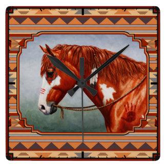 Chestnut Pinto Horse Southwest Indian Design Square Wallclock