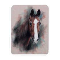 Chestnut Quarter Horse head Magnet