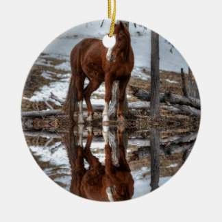 Chestnut Ranch Horse and Pond Reflection Ceramic Ornament