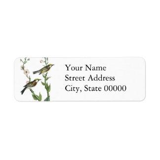 Chestnut-sided Warbler, John Audubon Custom Return Address Labels