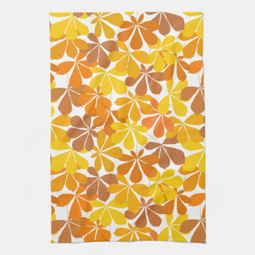 Chestnut tree autumn leaves hand towels