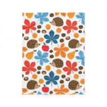 Chestnuts & Hedgehog seamless pattern (ver.10) Fleece Blanket