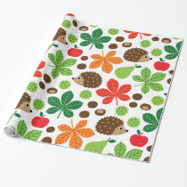 Chestnuts & Hedgehog Seamless Pattern Wrapping Paper