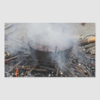 Chestnuts roasting on an open fire rectangular sticker