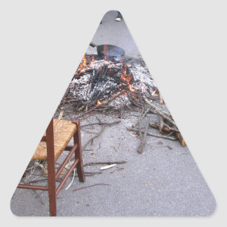 Chestnuts roasting on an open fire triangle sticker