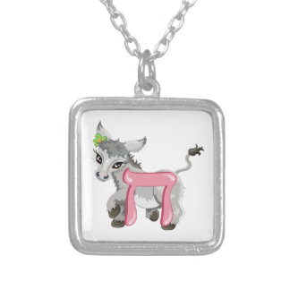 Chet the Donkey, Hebrew Aleph Bet (Alphabet) Silver Plated Necklace