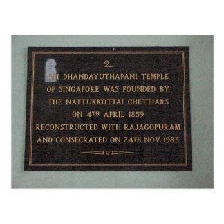 Chettiar Hindu Temple, Dedication panel Postcard