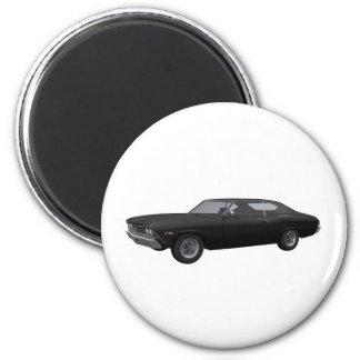 Chevelle 1968 SS: Acabado en negro Imán Redondo 5 Cm