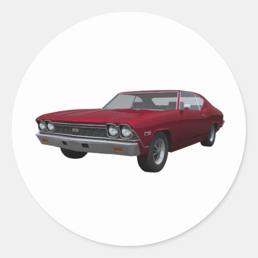 Chevelle 1968 SS: El caramelo Apple acaba Pegatina Redonda
