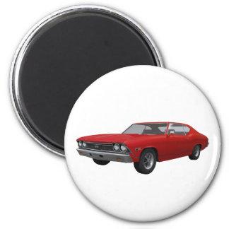 Chevelle 1968 SS: Final rojo Imán Redondo 5 Cm