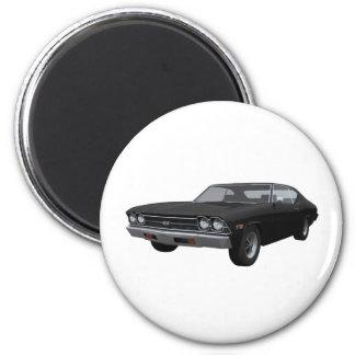 Chevelle 1969 SS: Acabado en negro Imán Redondo 5 Cm