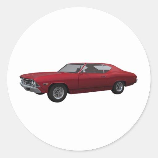 Chevelle 1969 SS: El caramelo Apple acaba Pegatina Redonda