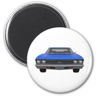 Chevelle 1969 SS: Final azul Imán Redondo 5 Cm