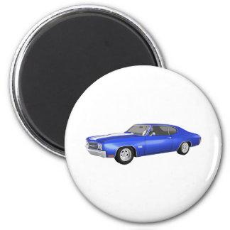 Chevelle 1970 SS: Final azul: Imán Redondo 5 Cm