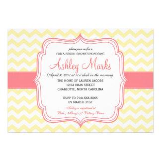 Cheveron amarillo y rosado Invitaiton Invitación Personalizada