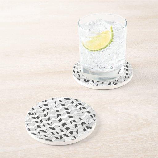 Cheveron Tiger Black and White Print Drink Coaster