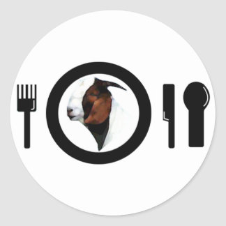CHEVON ON THE DINNER PLATE (GOAT MEAT) CLASSIC ROUND STICKER