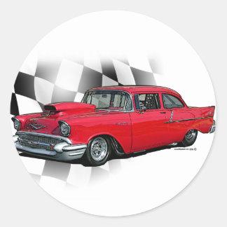 Chevrolet 1957 Dragster Pegatina Redonda