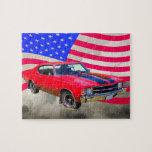 Chevrolet 1971 Chevelle SS y bandera americana Rompecabeza Con Fotos