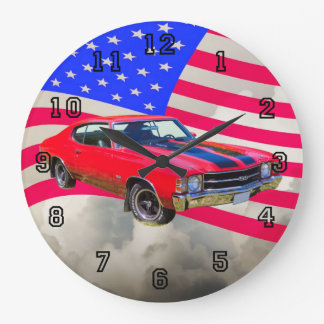 Chevrolet 1971 Chevelle SS y bandera americana Reloj Redondo Grande
